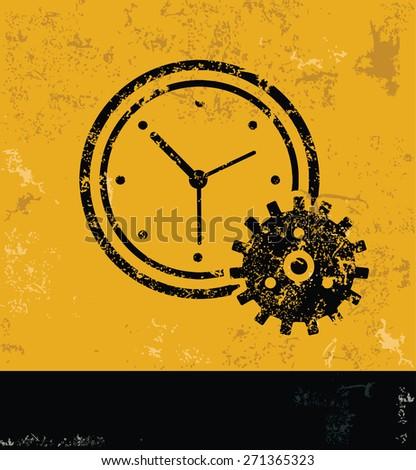 Clock design on yellow background,grunge vector - stock vector