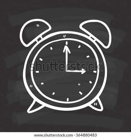 clock doodle on chalkboard background - stock vector