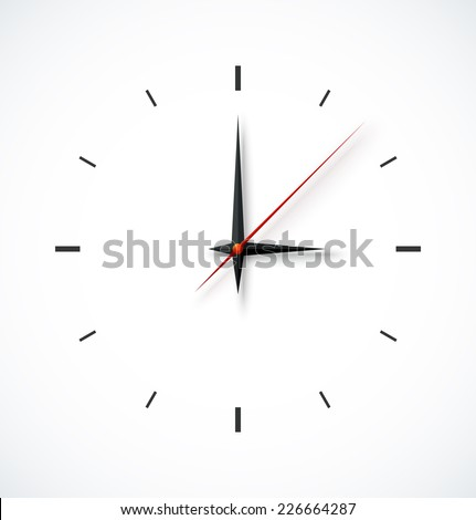 Clock face with shadow on white background. Vector illustration  - stock vector