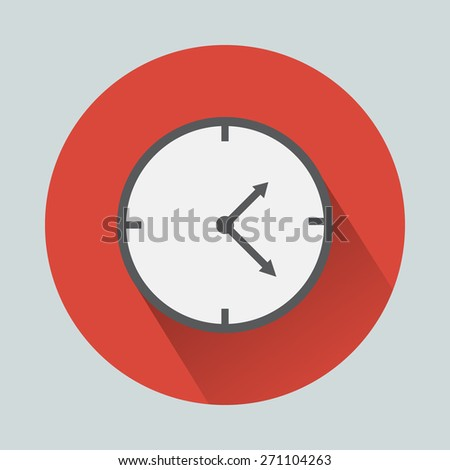 Clock flat icon. Vector illustration flat design with long shadow. - stock vector
