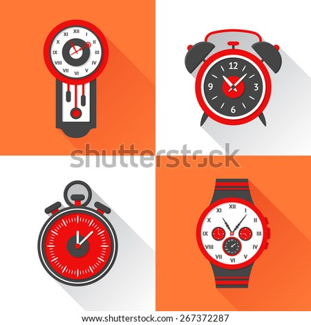 Clock flat icons set with cuckoo alarm clock stopwatch and wristlet watch isolated vector illustration - stock vector