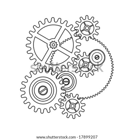 Stock Vector Doodle Style Gears Cogs Or Settings Vector Illustration on gear cog clip art