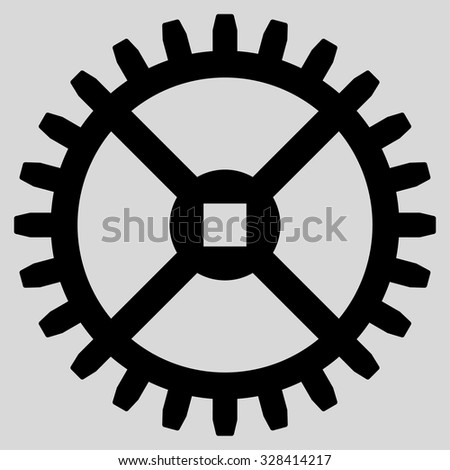 Clock Gear vector icon. Style is flat symbol, black color, rounded angles, light gray background. - stock vector