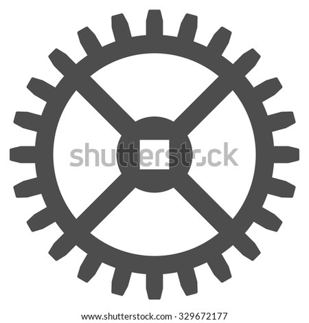 Clock Gear vector icon. Style is flat symbol, gray color, rounded angles, white background. - stock vector