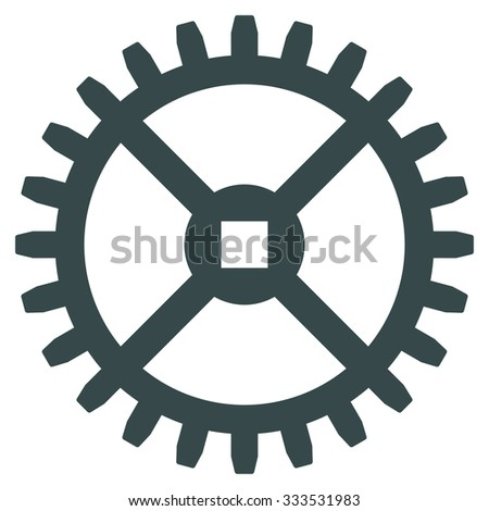 Clock Gear vector icon. Style is flat symbol, soft blue color, rounded angles, white background. - stock vector