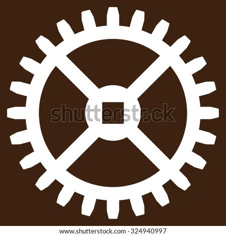 Clock Gear vector icon. Style is flat symbol, white color, rounded angles, brown background. - stock vector
