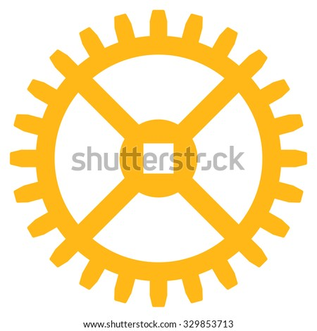 Clock Gear vector icon. Style is flat symbol, yellow color, rounded angles, white background. - stock vector