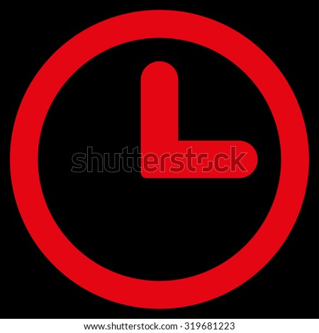 Clock icon from Primitive Set. This isolated flat symbol is drawn with red color on a black background, angles are rounded. - stock vector