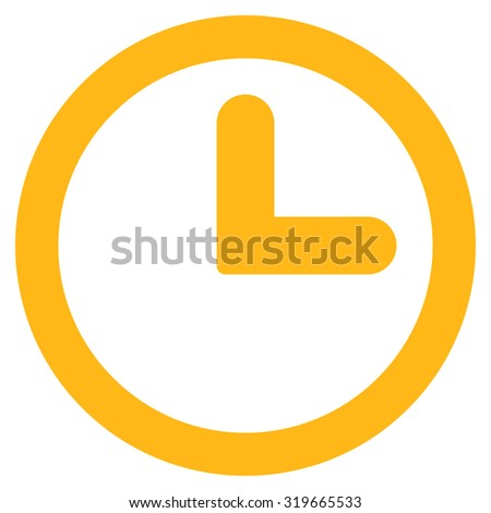 Clock icon from Primitive Set. This isolated flat symbol is drawn with yellow color on a white background, angles are rounded. - stock vector