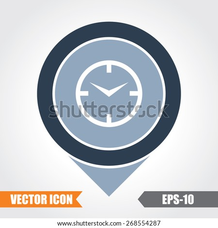 Clock Icon On Map Pointer. Eps.-10. - stock vector