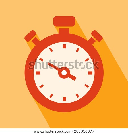 Clock Icon. Stopwatch Icon. Stopwatch Icon vector isolated on orange background. Stopwatch Icon with Long Shadow. All in a single layer. Vector illustration. Elements for design. - stock vector
