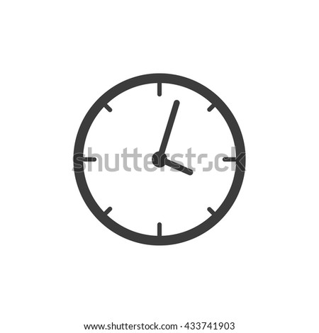 Clock icon Vector. Flat icon Clock. Flat vector illustration for web banner, web and mobile. Vector Clock icon graphic. Vector icon isolated on white background. Clock vector icon in black.  - stock vector