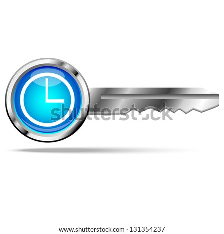 clock icon with key - stock vector