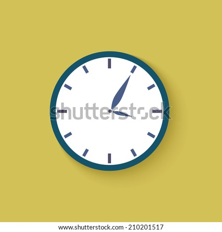 Clock icon with time five minutes past three- vector illustration - stock vector