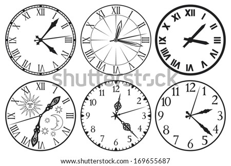 clock icons (clock set)  - stock vector