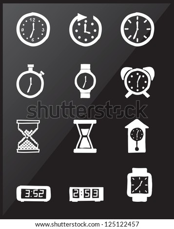 Clock icons over black background vector illustration - stock vector