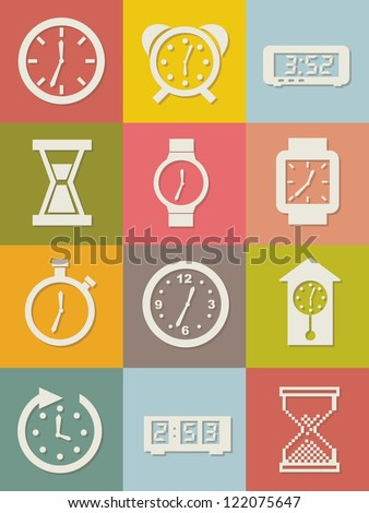 clock icons over vintage background. vector illustration - stock vector