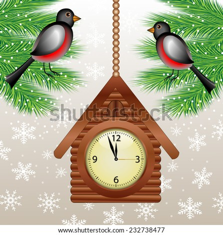 clock in form house and bullfinch on green branches,vector illustration - stock vector