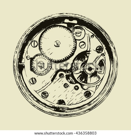 Clock mechanism, back side of watch, hand drawn vector illustration - stock vector