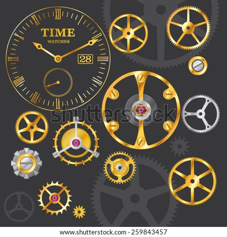 Clock mechanism. Cogs, gears and dial of clock on black background. - stock vector