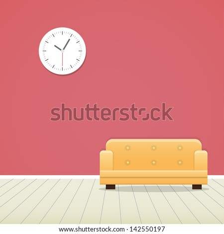 Clock on red wall and yellow sofa minimal - stock vector