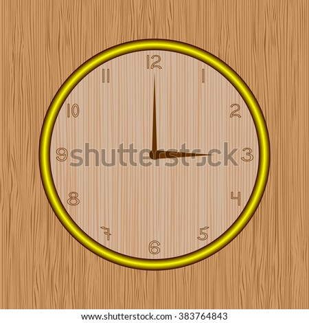 clock on wood background - stock vector