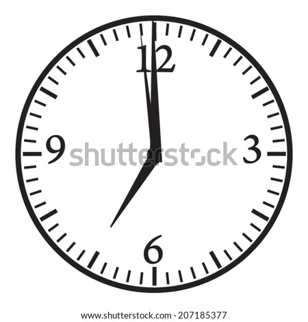 Clock. 7:00 pm or am. Morning or evening time. Vector icon. - stock vector