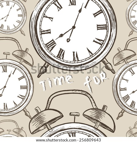 Clock seamless pattern. Time for wake up. Vintage watches background. - stock vector