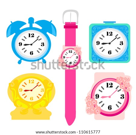 Clock set - stock vector