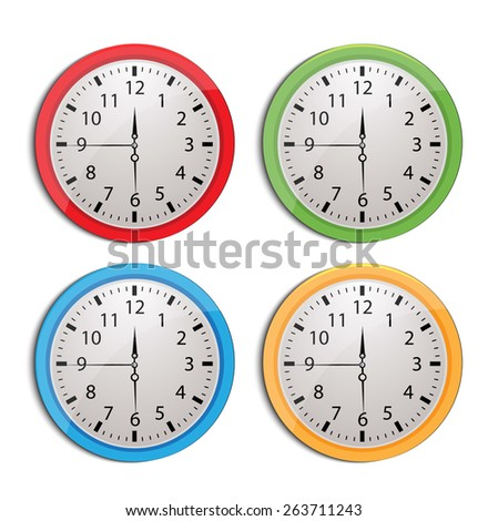 clock set isolated on white - stock vector