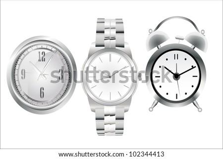 Clock set. Office, digital, timer, stopwatch, alarm. - stock vector