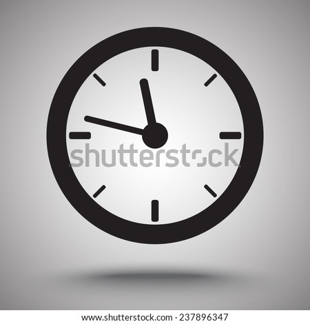 Clock sign icon, vector illustration. Flat design style - stock vector