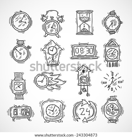 Clock sketch icons set with stopwatch alarm wall and sand clock isolated vector illustration - stock vector