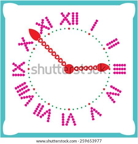 Clock square. Vector illustration. - stock vector