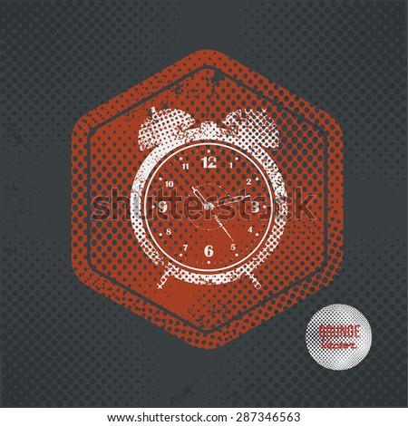 Clock,stamp design on old dark background,grunge concept,vector - stock vector