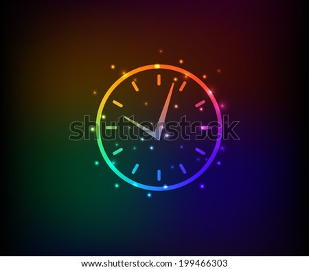 Clock symbol,Rainbow vector - stock vector