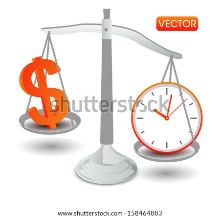 clock time money dollar on scales - stock vector