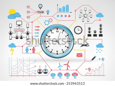 clock time running with blue red info graphic icons and graphs around vector background for web and media design collection illustration - stock vector