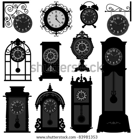 Clock Time Timepiece Antique Vintage Ancient Classic Old Traditional Retro - stock vector