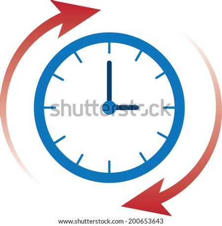 Clock time with red arrows moving clockwise  - stock vector
