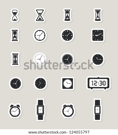 clock web icons set. paper stickers - stock vector