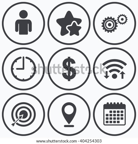 Clock, wifi and stars icons. Business icons. Human silhouette and aim targer with arrow signs. Dollar currency and gear symbols. Calendar symbol. - stock vector