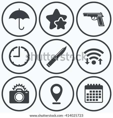 Clock, wifi and stars icons. Gun weapon icon.Knife, umbrella and photo camera with flash signs. Edged hunting equipment. Prohibition objects. Calendar symbol. - stock vector