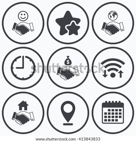 Clock, wifi and stars icons. Handshake icons. World, Smile happy face and house building symbol. Dollar cash money bag. Amicable agreement. Calendar symbol. - stock vector