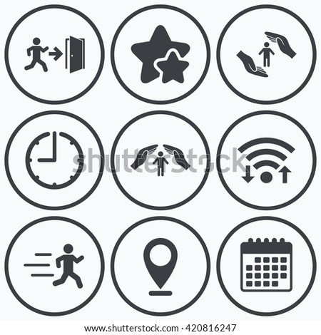 Clock, wifi and stars icons. Life insurance hands protection icon. Human running symbol. Emergency exit with arrow sign. Calendar symbol. - stock vector