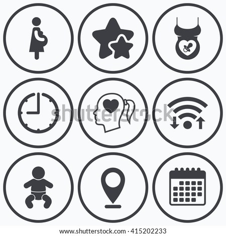 Clock, wifi and stars icons. Maternity icons. Baby infant, pregnancy and dummy signs. Child pacifier symbols. Head with heart. Calendar symbol. - stock vector