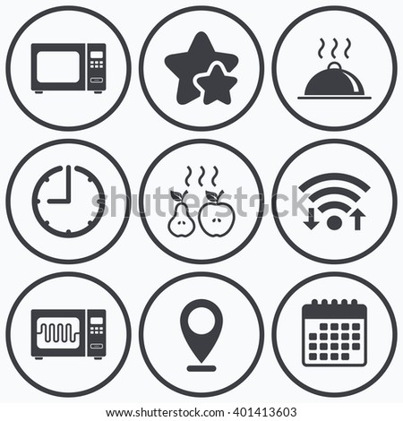 Clock, wifi and stars icons. Microwave grill oven icons. Cooking apple and pear signs. Food platter serving symbol. Calendar symbol. - stock vector