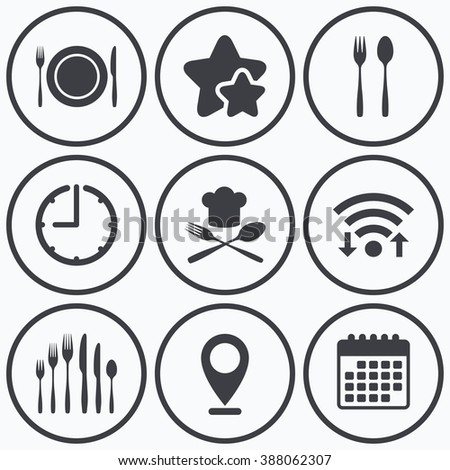 Clock, wifi and stars icons. Plate dish with forks and knifes icons. Chief hat sign. Crosswise cutlery symbol. Dessert fork. Calendar symbol. - stock vector