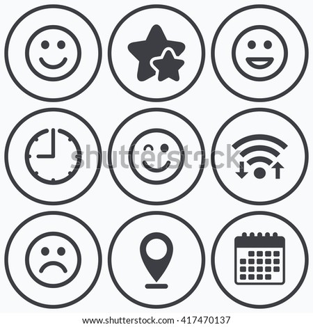Clock, wifi and stars icons. Smile icons. Happy, sad and wink faces symbol. Laughing lol smiley signs. Calendar symbol. - stock vector