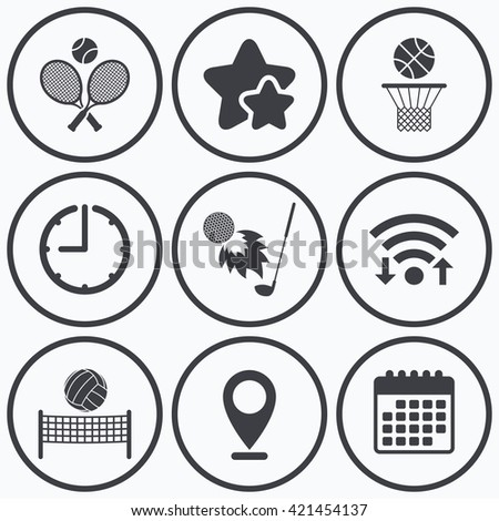 Clock, wifi and stars icons. Tennis rackets with ball. Basketball basket. Volleyball net with ball. Golf fireball sign. Sport icons. Calendar symbol. - stock vector